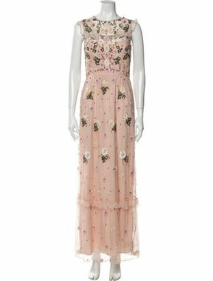 Needle & Thread Floral Print Long Dress Pink