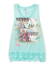 Beautees Blue 'Never Let Go of Your Dreams' Tank & Necklace - Girls