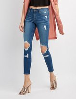 Charlotte Russe Refuge Skin Tight Destroyed Legging Jeans