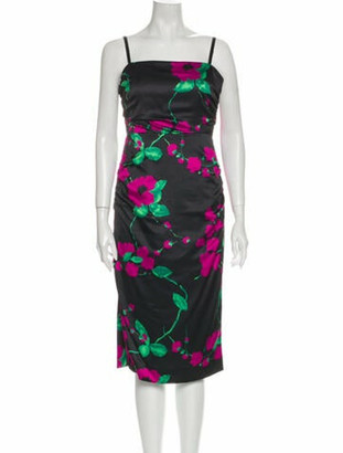 Milly Floral Print Midi Length Dress w/ Tags Black