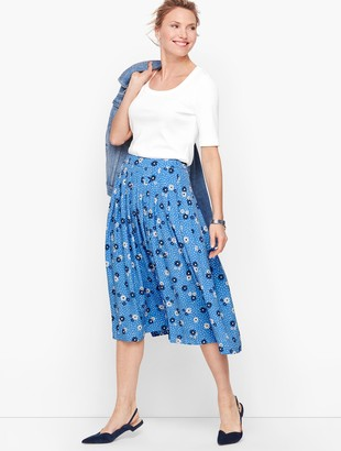 Talbots Daisy Dot Pleated Full Skirt
