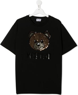 MOSCHINO BAMBINO sequin bear T-shirt