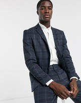 Selected Homme bright check logan suit jacket in navy