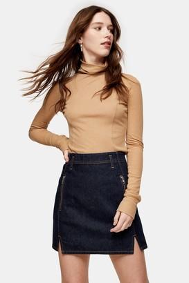 Topshop Indigo Denim Front Notch Denim Skirt