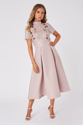Little Mistress Megalyn Mink Sequin Pleated Midaxi Dress