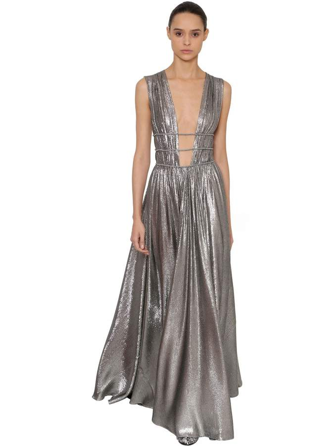 Alberta Ferretti GATHERED SILK & LAME LONG DRESS