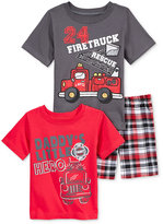 Nannette Baby Boys' 3-Piece Firetruck T-Shirts & Shorts Set
