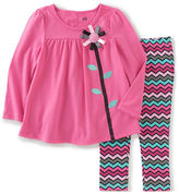 Kids Headquarters Baby Girls Two-Piece Ribbon Flower Tunic and Leggings Set