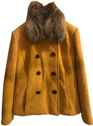 Prada Yellow Fur Coats