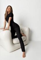 Missguided Black Rib Short Sleeve Flare Leg Jumpsuit