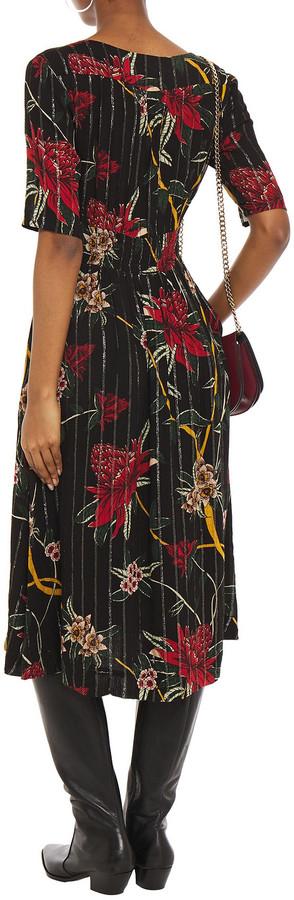 Thumbnail for your product : BA&SH Patty Gathered Metallic Floral-print Woven Midi Dress