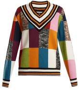 House of Holland Patchwork-knit cricket sweater