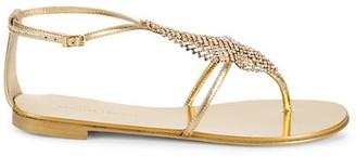 Giuseppe Zanotti Metallic Crystal Embellished Leather Sandals