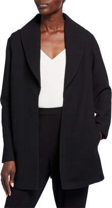 Eileen Fisher Basket Weave Shawl-Collar Jacket