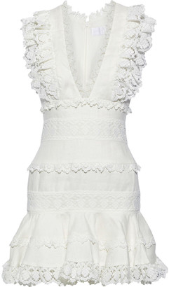 Zimmermann Wayfarer Ruffled Guipure Lace-trimmed Linen Mini Dress