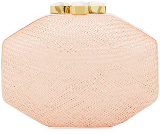 Rafe Sofia Straw Clutch Polygon Bag, Pink