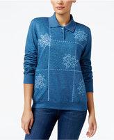 Alfred Dunner Petite Sweet Nothings Embellished Polo Sweatshirt