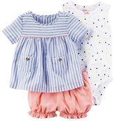 Carter's Baby Girl Polka-Dot Bodysuit, Striped Top & Bubble Shorts Set