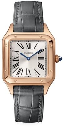 Cartier Santos Dumont de Small 18K Rose Gold & Grey Alligator-Strap Watch