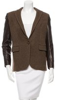 Ralph Lauren Black Label Leather Sleeve Wool Blazer