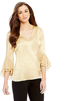 Antonio Melani Rubin Silk Ruffled Sleeve Blouse