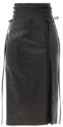 16Arlington Lucerne Lace-up Leather Midi Skirt - Black