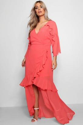 boohoo Plus Chiffon Ruffle Maxi Dress