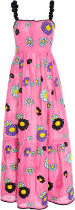 Yuliya Magdych Loves Me Loves Me Embroidered Linen Maxi Sundress