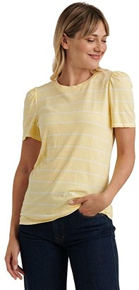 Lucky Brand Puff Sleeve Crew Neck Tee (Yellow Stripe) Women's Clothing