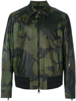 Neil Barrett camouflage bomber jacket - men - Calf Leather/Lamb Skin/Polyamide/Cupro - M