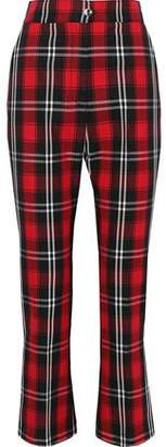 MSGM Satin-trimmed Checked Twill Kick-flare Pants
