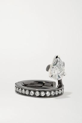 Repossi Serti Sur Vide 18-karat Black Gold-washed Diamond Ear Cuff - White gold