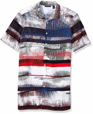 Perry Ellis Mens Big and Tall Roll Sleeve Jadquard Print Shirt