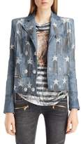 Balmain Star & Chain Embellished Leather Jacket