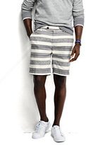 "Lands' End Men's 8"" Linen Cotton Print Marina Shorts-White Canvas Stripe"