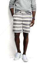 """Lands' End Men's 8"""" Linen Cotton Print Marina Shorts-White Canvas Stripe"""