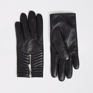 River Island Womens Black quilted leather gloves