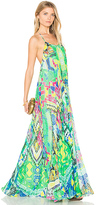 Rococo Sand Long Watercolor Dress in Green. - size S (also in )