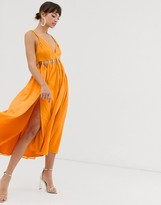 Asos Design DESIGN soft midi dress with cut out deatil and spliced skirt in crinkle chiffon