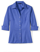 Lands' End Women's Petite 3/4-sleeve Tonal Stripe Shirt-Natural/Dark Kelly Green