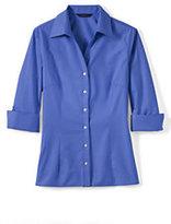 Lands' End Women's Petite 3/4-sleeve Tonal Stripe Shirt-White