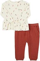 Emile et Ida Eiffel Tower-Print Cotton Top & Pants Set-CREAM, ORANGE, NO COLOR