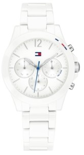 Tommy Hilfiger Women's Chronograph White Ceramic Bracelet Watch 38mm, Created for Macy's