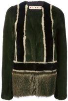 Marni colour block fur jacket