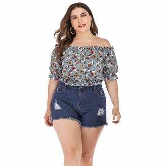 Auifor Womens Half Sleeve Off Shoulder Top T-Shirt Floral Printed Summer Blouse(Gray XXX-Large)