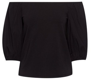 Dorothy Perkins Womens Black Short Sleeve Bardot Top, Black