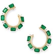 Bloomingdale's Emerald & Diamond Front-Back Earrings in 14K Yellow Gold - 100% Exclusive