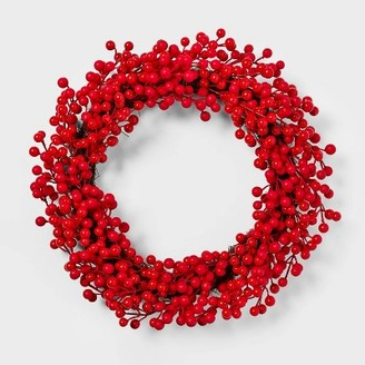 22in Unlit Red Berry Artificial Christmas Wreath - WondershopTM