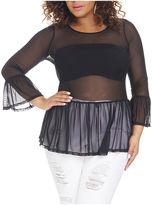 Fashion to Figure Gia Peplum Bell Sleeve Mesh Top-Plus