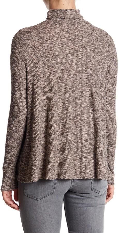 Soprano Mock Neck Long Sleeve Knit Blouse
